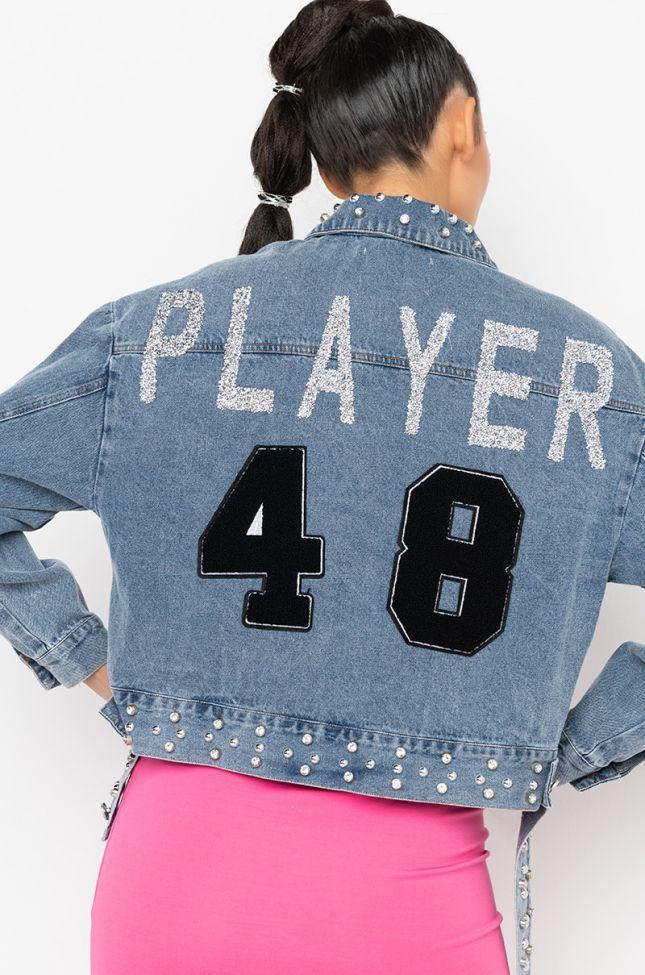 Detail View Player Applique Denim Jacket in Light Blue Denim