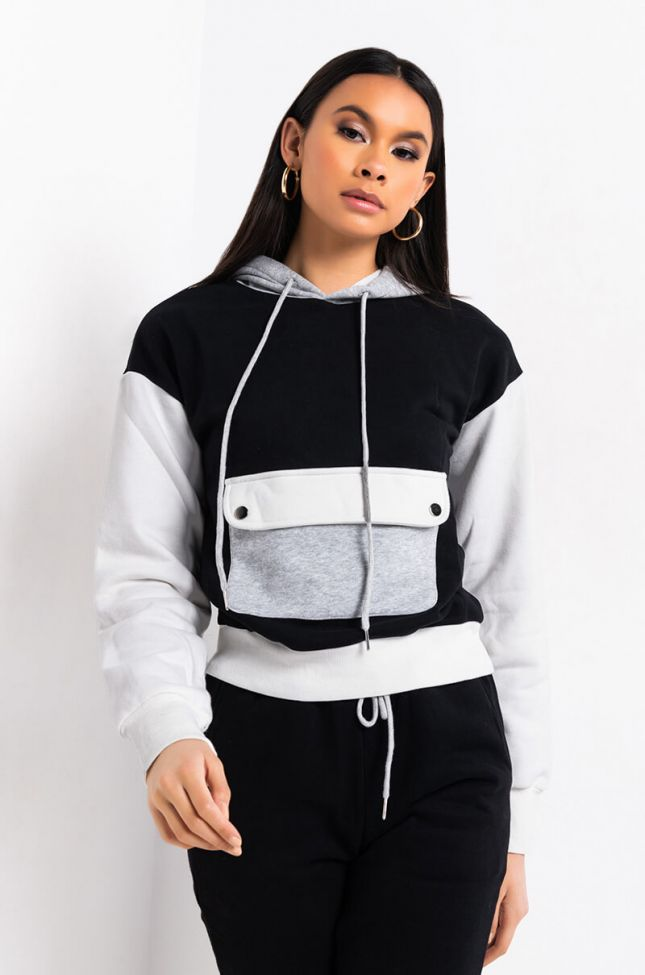 Front View Playing No Mind Sweatshirt in Black Multi