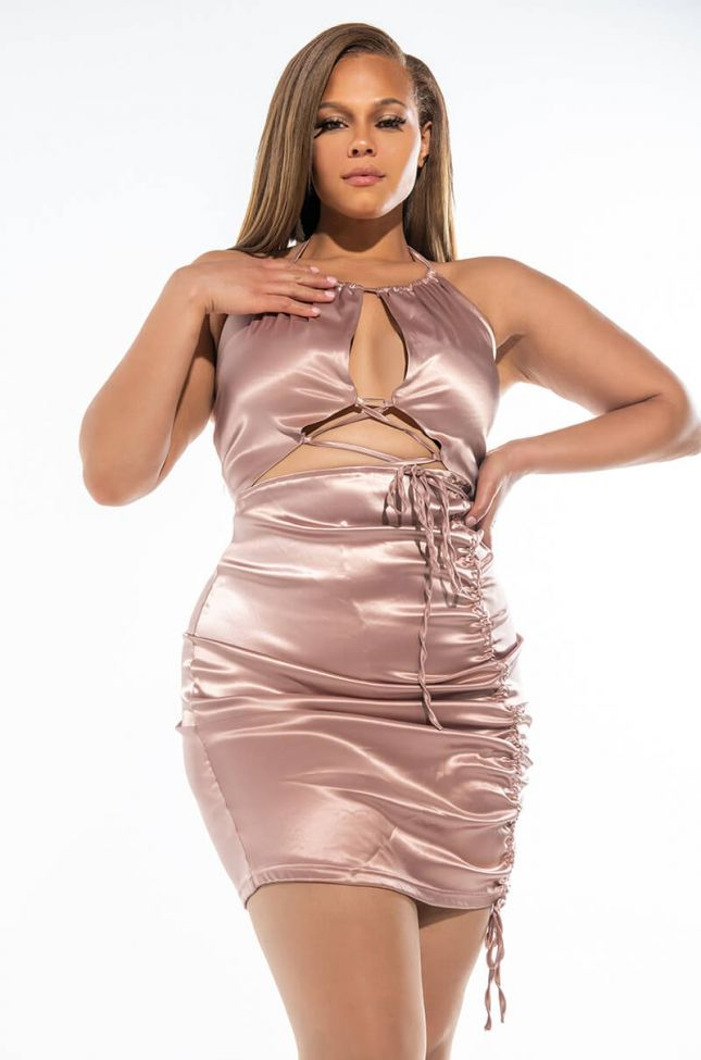 PLUS 50 SHADES OF SLAY LACE UP SATIN RUCHED MINI DRESS