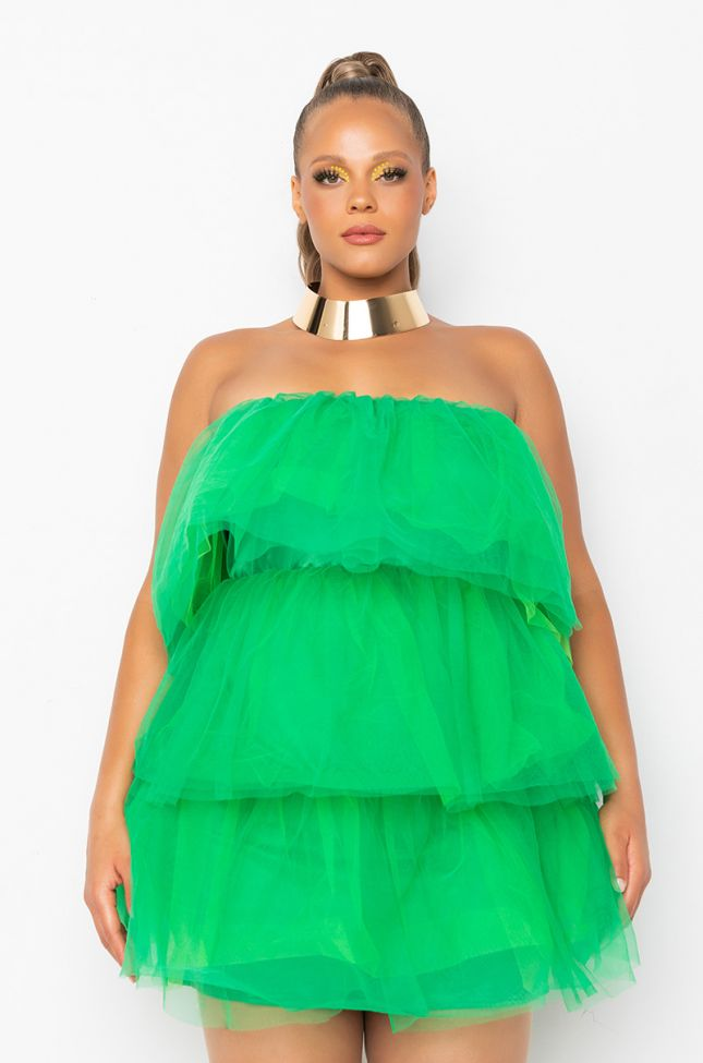 Front View Plus Addicted To This Tulle Mini Dress