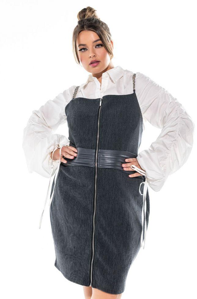 Front View Plus All Chains Corset Detail Mini Dress