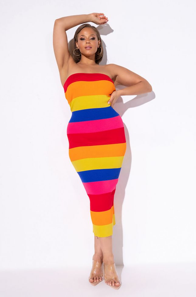 Front View Plus All Shade Sweater Ribbed Tube Dress in Red Multi