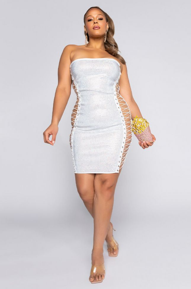 Plus All The Right Places Bandage Mini Dress in White