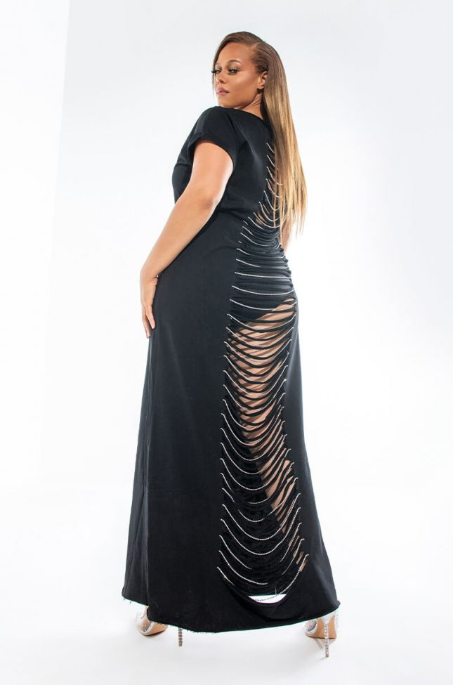 PLUS ALL THIS MAXI DRESS WITH DISTRESSED BACK