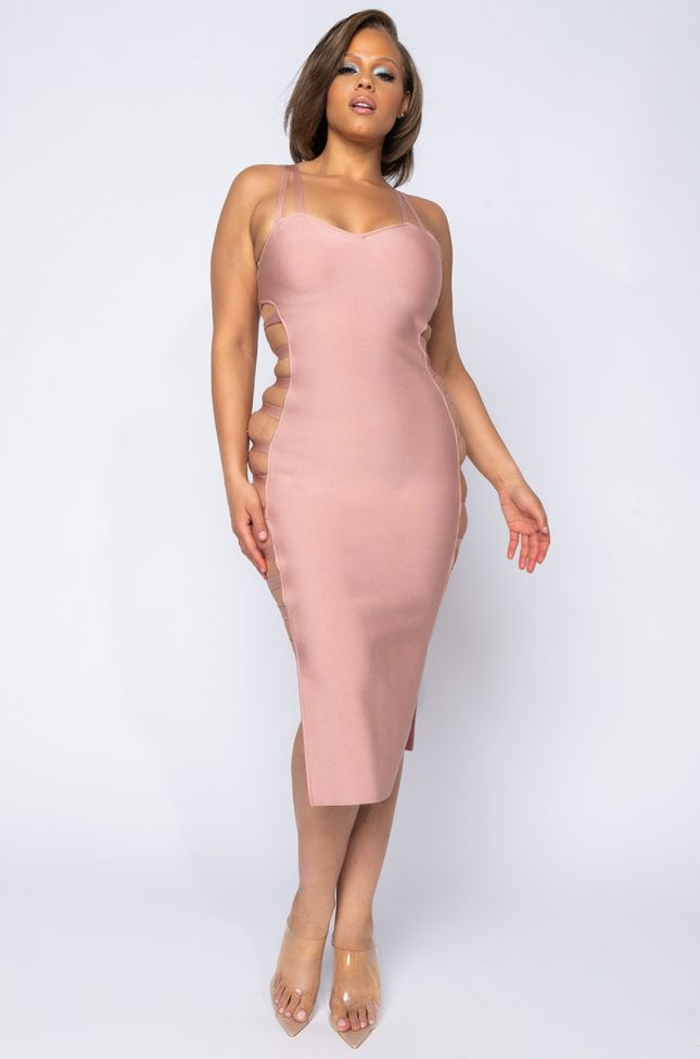 Front View Plus Almost Taken Cut Out Midi Dress in Mauve