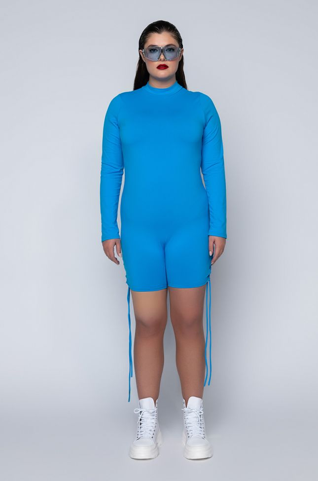 Side View Plus Anytime Now Long Sleeve Romper With Mock Neck in Blue