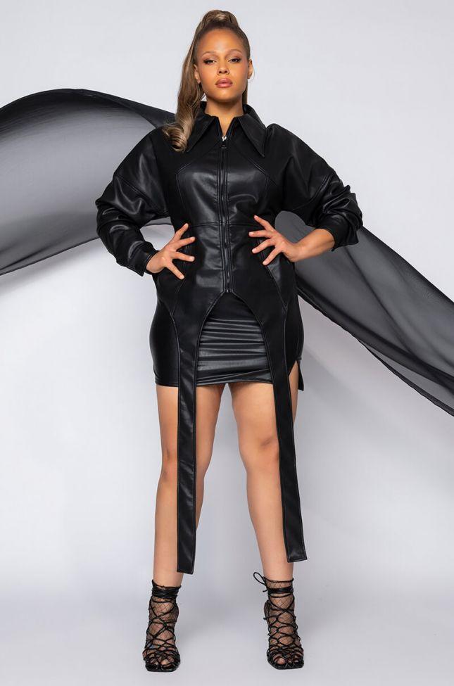 Front View Plus Azalea Wang Corset Pleather Jacket in Black