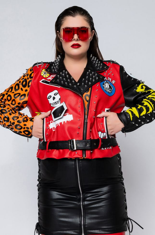 Front View Plus Azalea Wang Extended Size Freak Out Patch Moto Jacket in Red Multi