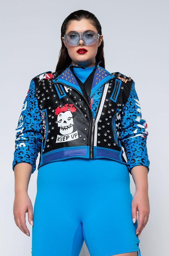 Front View Plus Azalea Wang In A Blue World Moto Jacket in Blue
