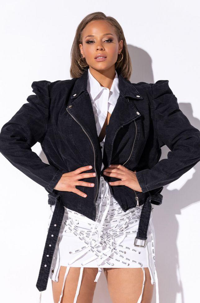 Front View Plus Azalea Wang Menneli Denim Poplin Sleeve Jacket in Black Denim