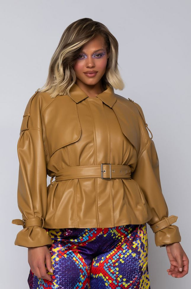 Front View Plus Azalea Wang Pleather Crop Trench in Camel