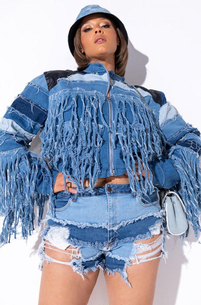 Front View Plus Azalea Wang Shaggy Baby Denim Jacket in Denim