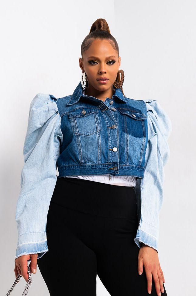 Side View Plus Azalea Wang Two Toned Puff Sleeve Denim Jacket in Light Blue Denim