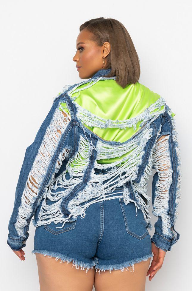 Detail View Plus Azalea Wang Ultra Distressed Crop Denim Jacket in Medium Blue Denim