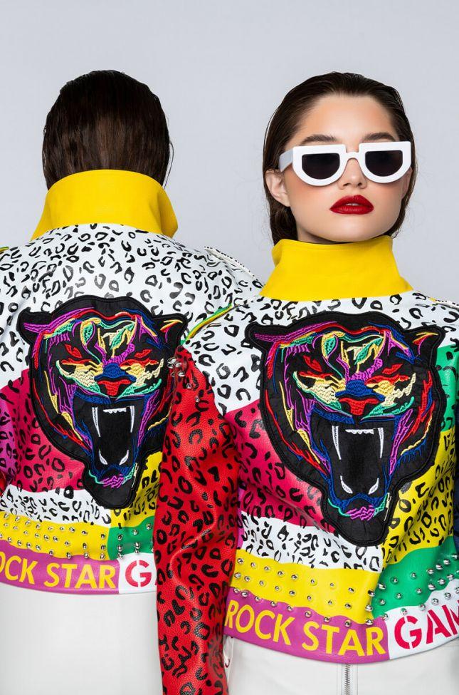 Front View Plus Azalea Wang Wonka Colors Moto Jacket in Red Multi