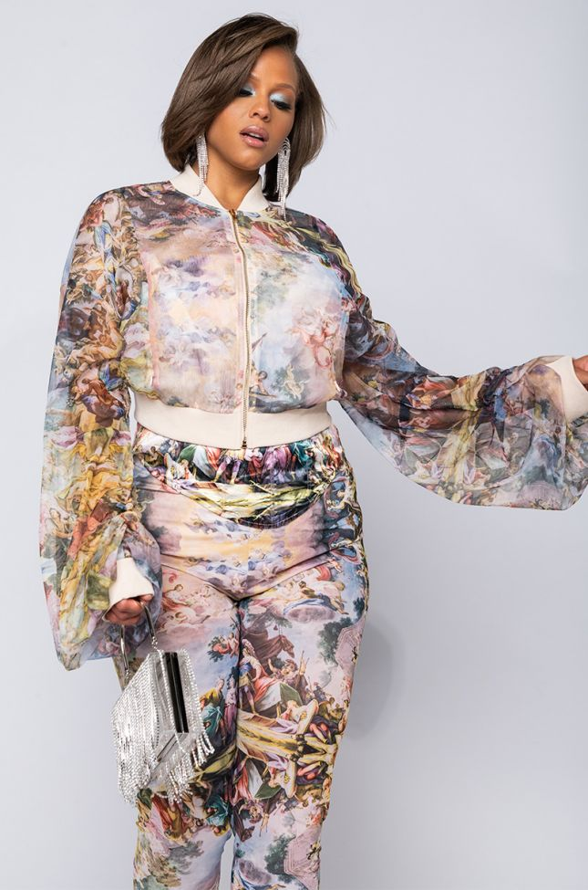 Front View Plus Bella Luna Sheer Stacked Arm Bomber in Multi