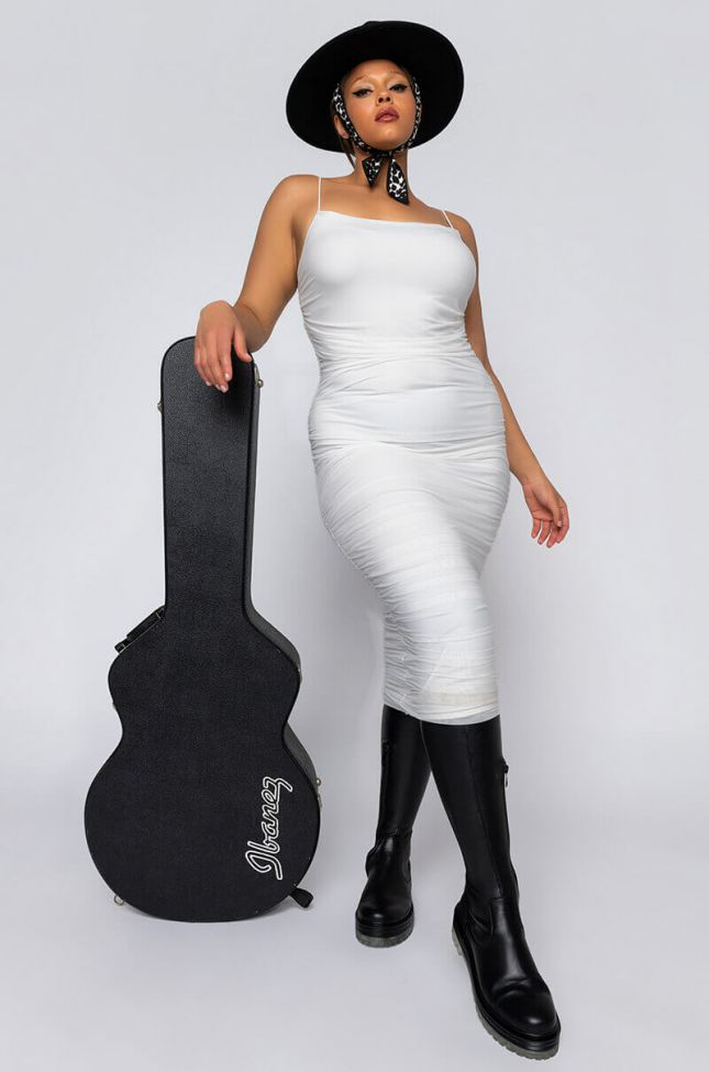 Front View Plus Better Left Unsaid Ruched Midi Dress in Ivory