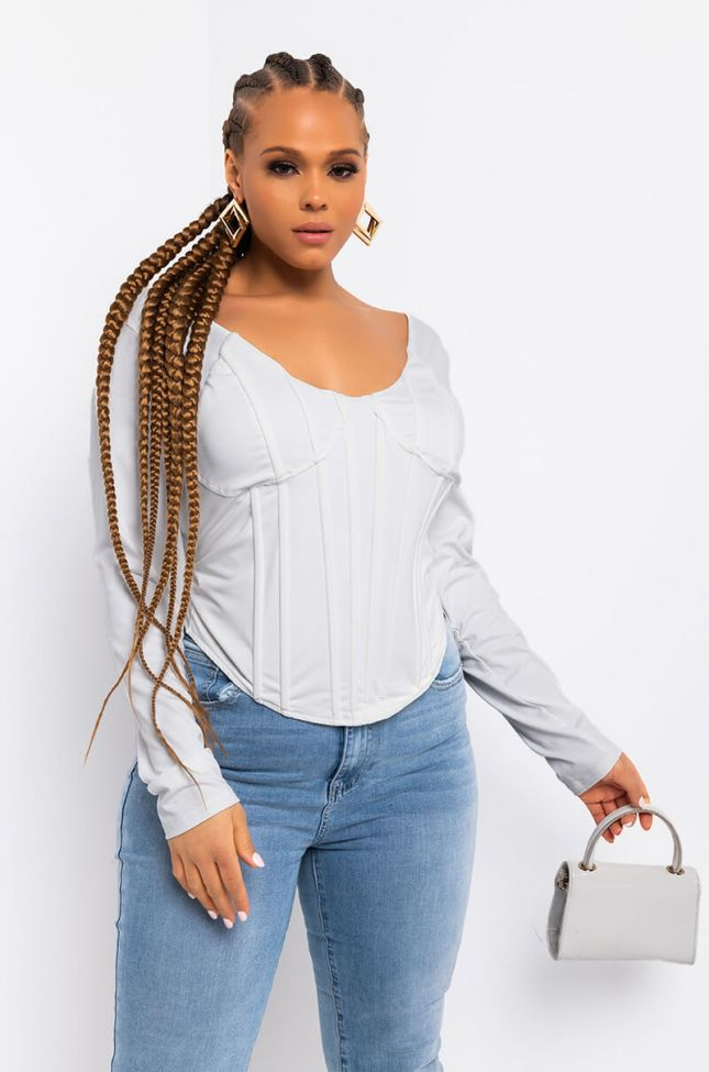 Front View Plus Big Ups To All My Haters Long Sleeve Corset Top in White