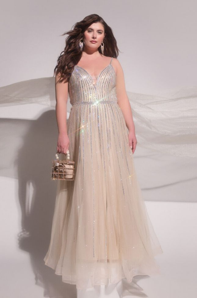 Side View Plus Black Label In The Mood For Glam Drippin Stones Maxi Gown in Silver