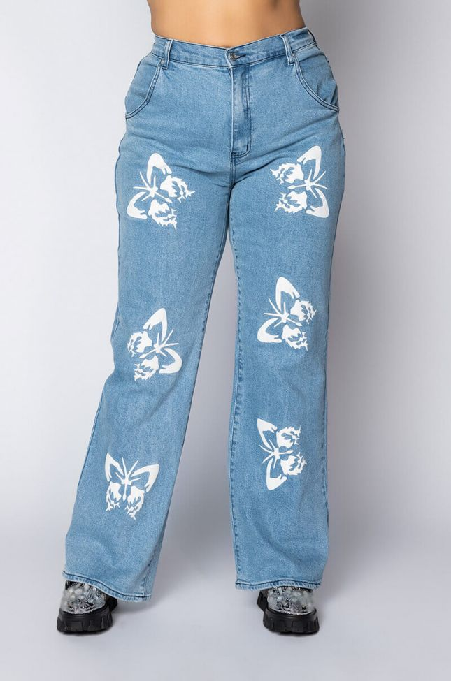 Front View Plus Butterflies High Rise Straight Leg Jeans in Medium Blue Denim