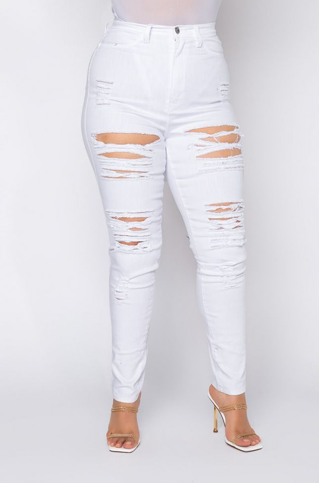 Front View Plus California Dream High Waist Skinny Jeans in White