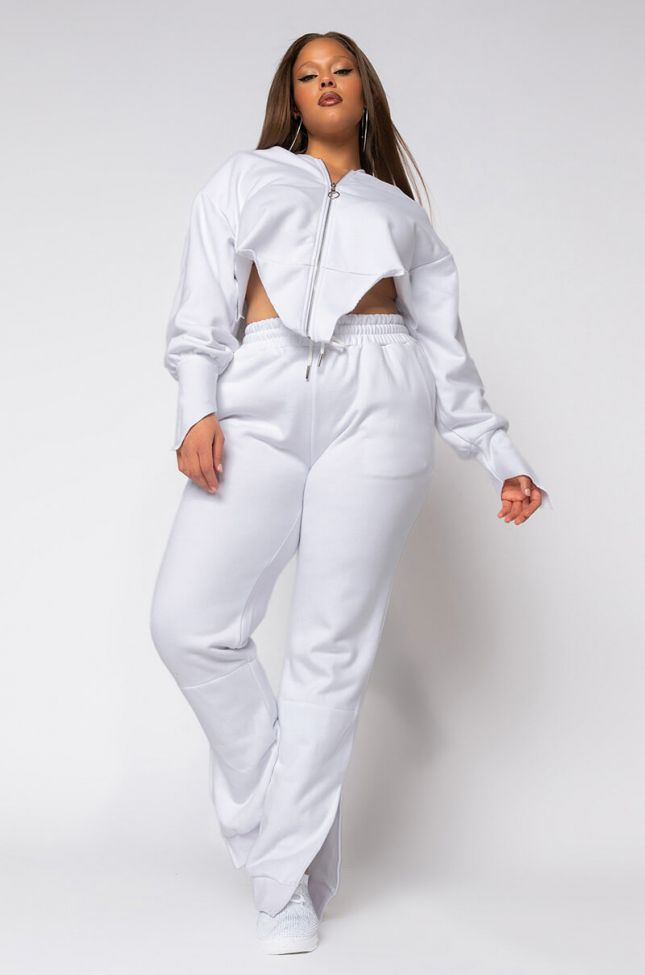Full View Plus Cant Hide From Me Sweatpants With Ankle Slit in White