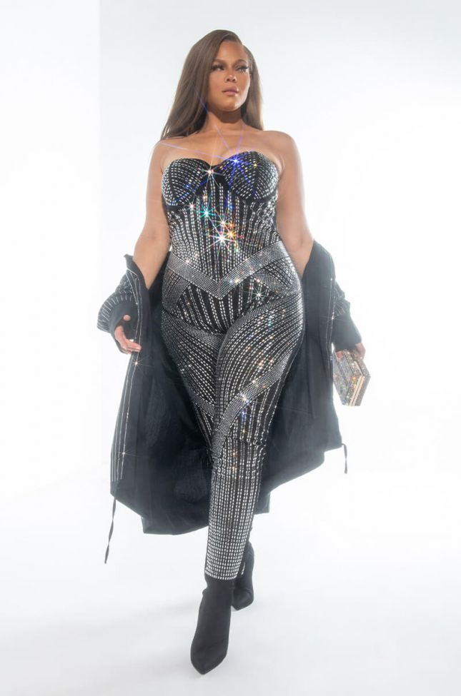 Front View Plus Catch Up And Keep Up Jumpsuit With Rhinestones