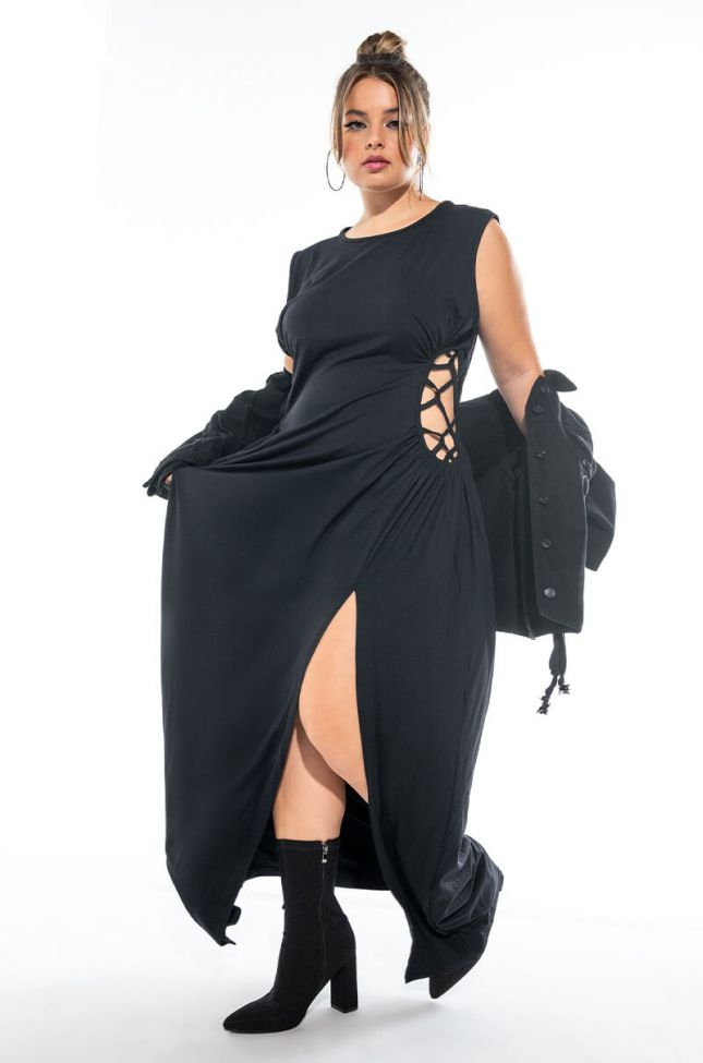 Front View Plus Caught Up In The Twist Maxi Dress With High Slit