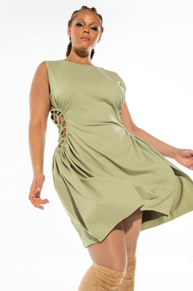 Front View Plus Caught Up In The Twist Mini Dress With Slit