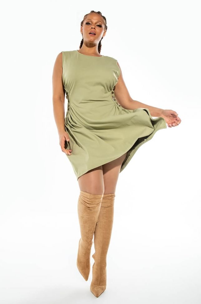 PLUS CAUGHT UP IN THE TWIST MINI DRESS WITH SLIT