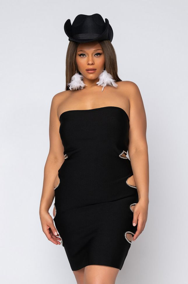 Front View Plus Classy Tube Dress With Rhinestones in Black