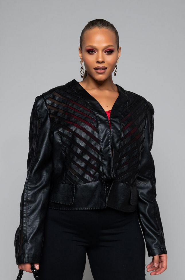 Side View Plus Come A Little Closer Mesh Pleather Jacket in Black