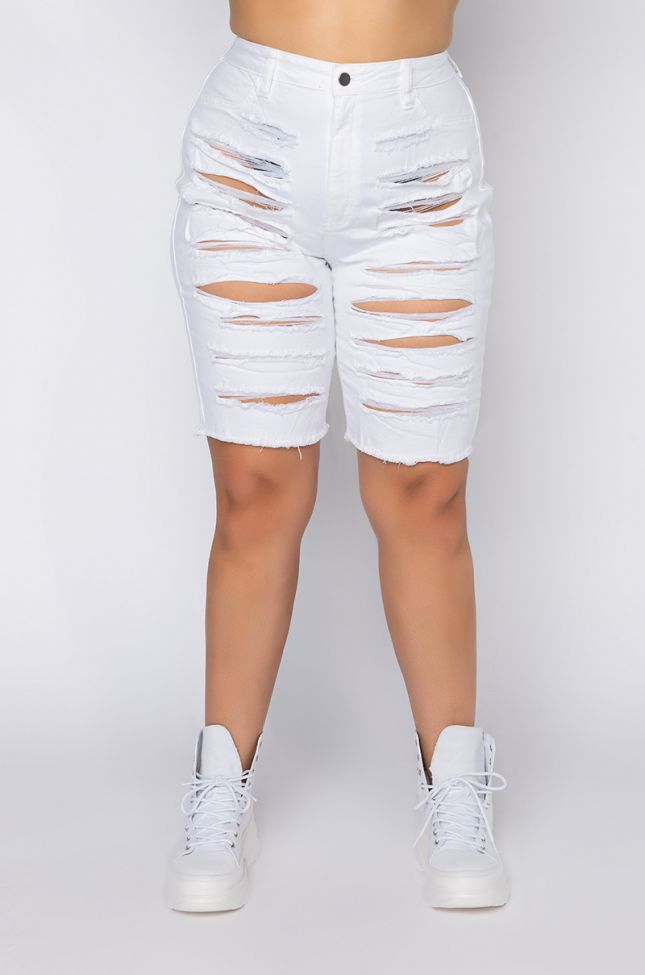 Front View Plus Come Back To Me Denim Shorts in White