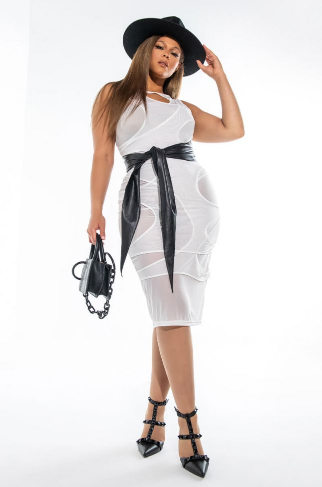 Front View Plus Cut It All Out Mesh Midi Dress