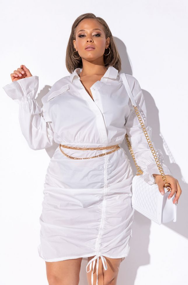 Front View Plus Day Date Stretch Shirt Dress in White