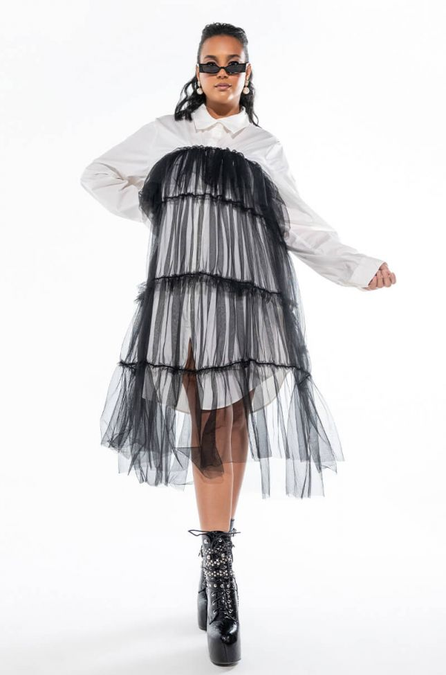 PLUS DEEPLY IN LOVE FASHION TULLE MIDI DRESS