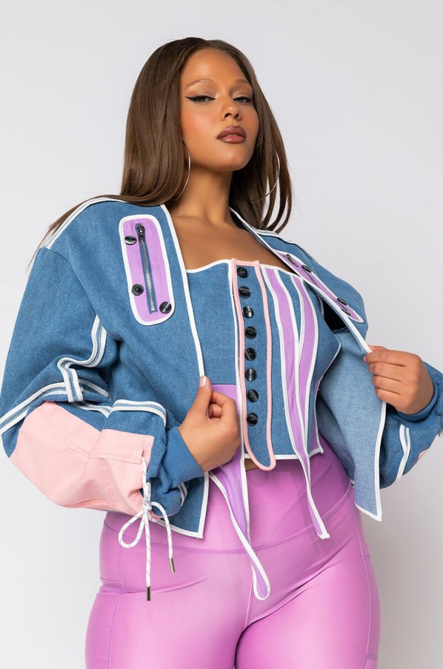 Front View Plus Dont Slip On This Drip Corset With Jacket Set in Blue Multi