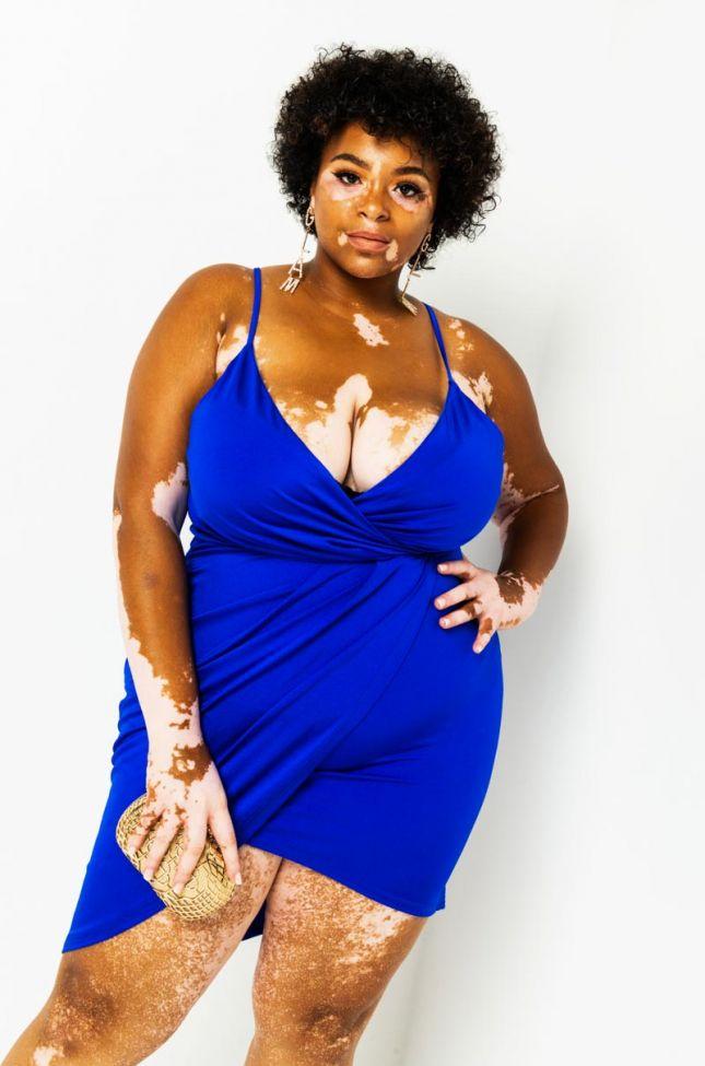 Front View Plus Drape Front Mini Dress in Blue
