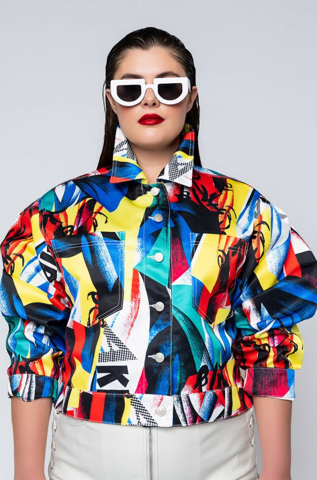 Front View Plus Electric Soul Abstract Jacket in Multi
