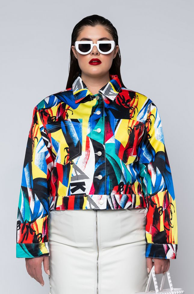 Side View Plus Electric Soul Abstract Jacket in Multi