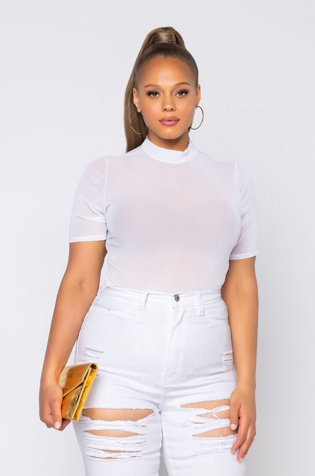 Front View Plus Essential Mesh Bodysuit in White