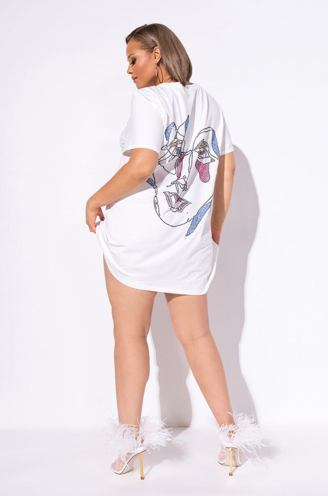 Full View Plus Face It Graphic T Shirt Dress in White