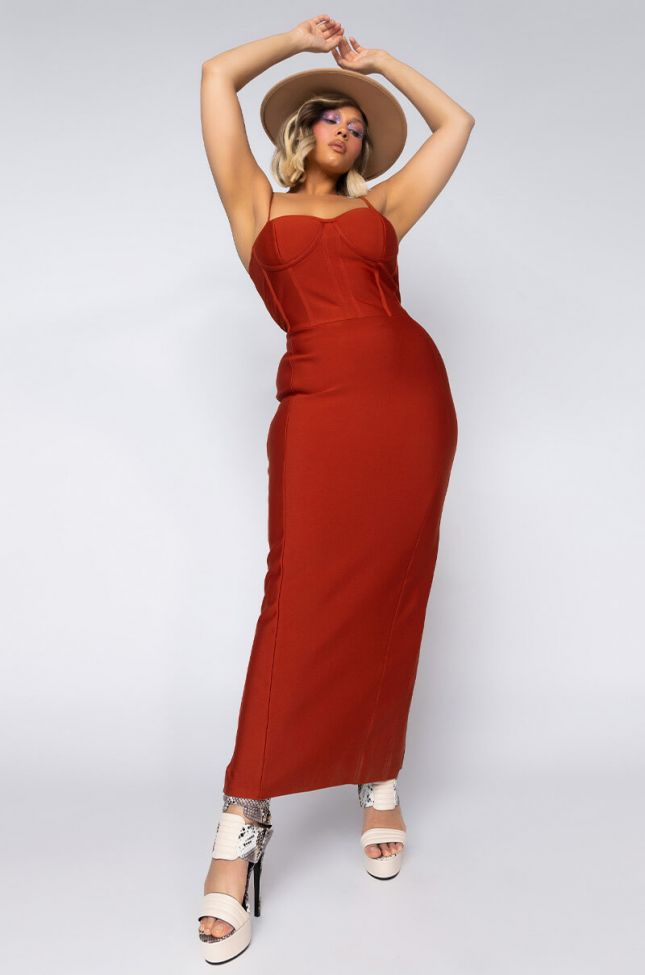 Front View Plus Feeling Lovely Bandage Maxi Dress With Corset Top in Rust