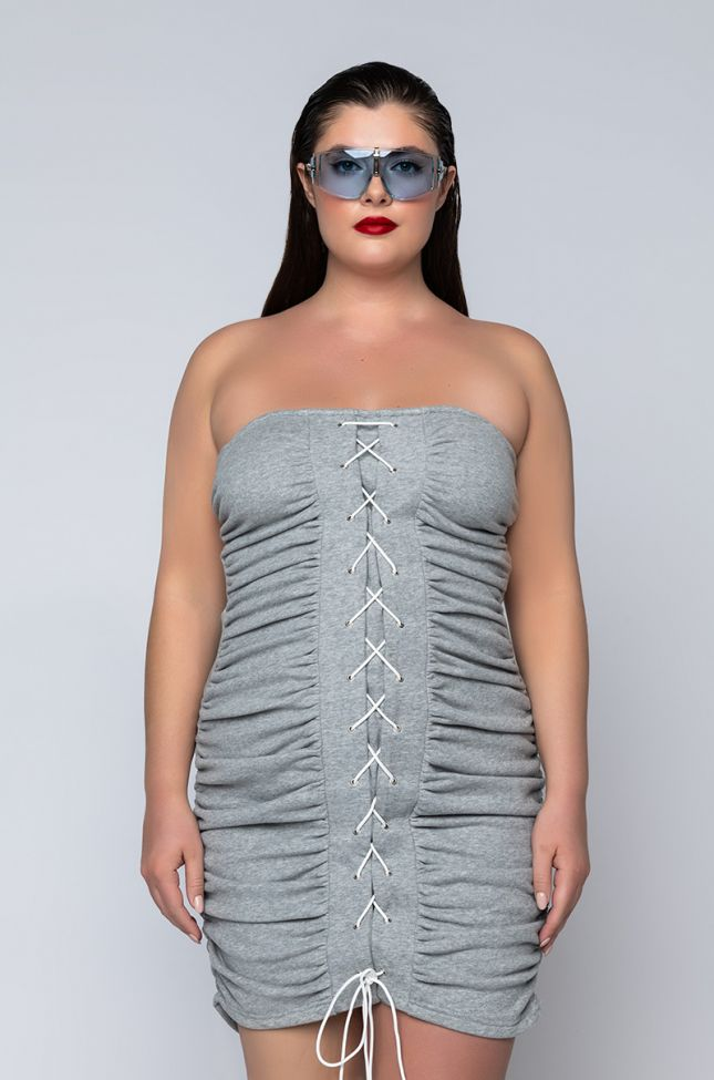 Front View Plus Fly And Floating Over Bs Mini Dress With Lace Up in Heather Grey