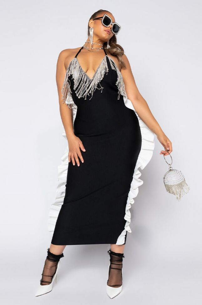 Front View Plus For The Elegance Rhinestone Detail Maxi Dress in Black White