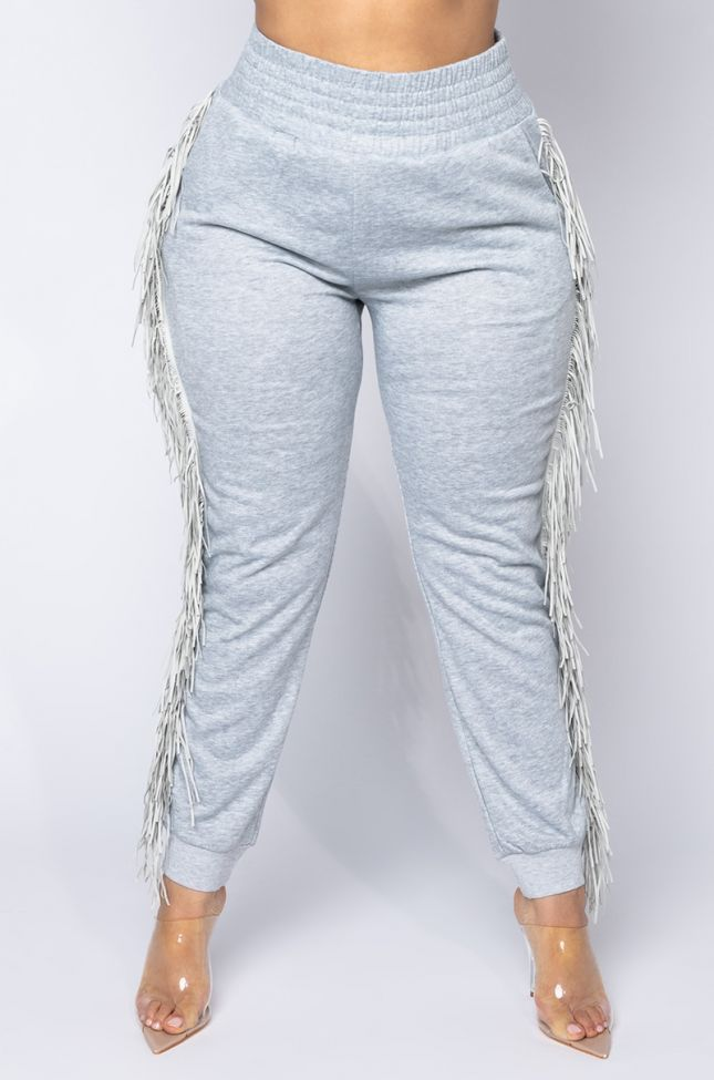 Front View Plus Fringe All The Way Jogger in Heather Grey