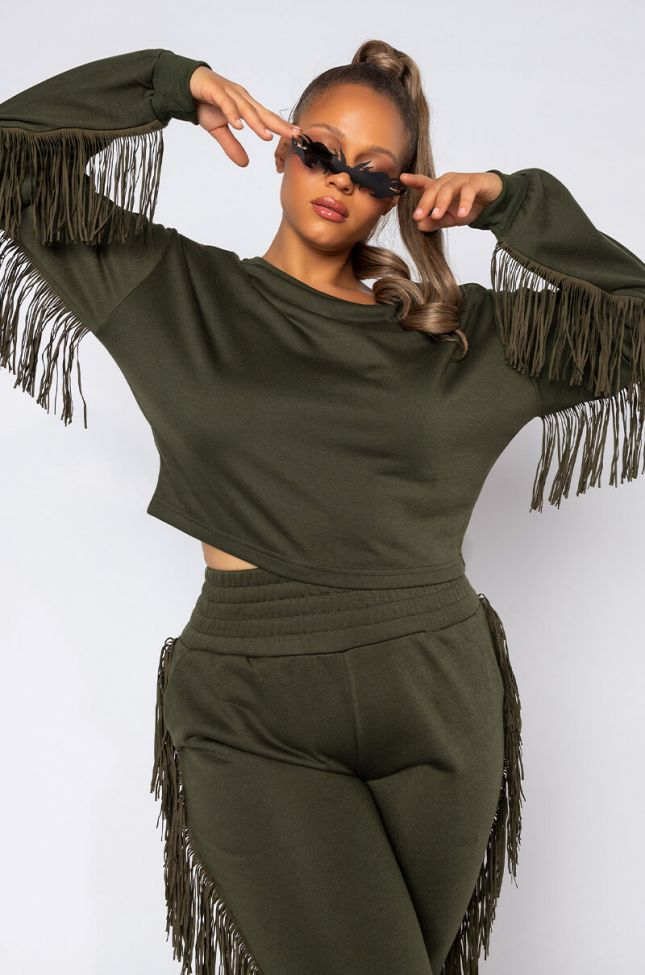 Side View Plus Fringe All The Way Sweatshirt in Black