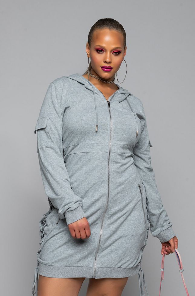 Front View Plus Got All The Flavas Lace Up Detail Hoodie Dress in Heather Grey
