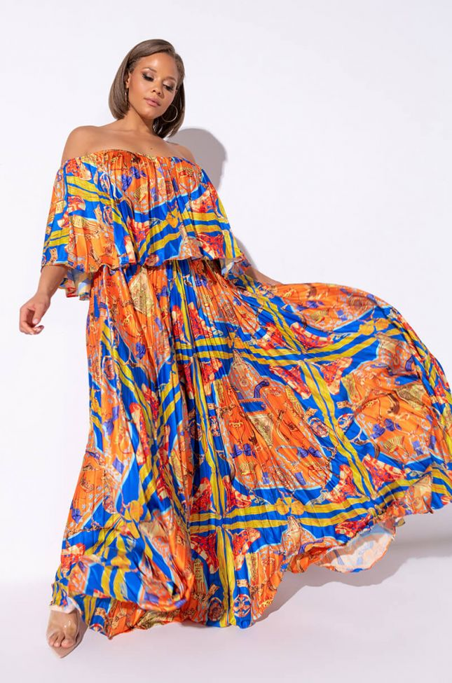 Front View Plus Got Me Twisted Off The Shoulders Maxi Dress in Purple Multi
