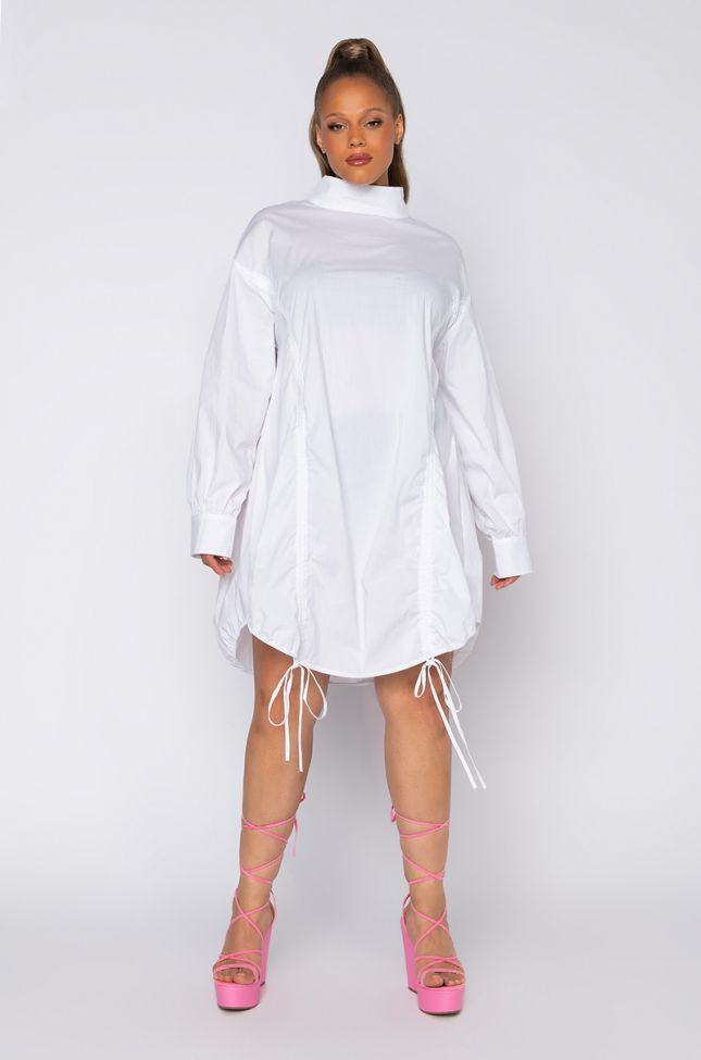 Side View Plus Hot Lil Thang Drawstring Detail Long Sleeve Mini Dress in White